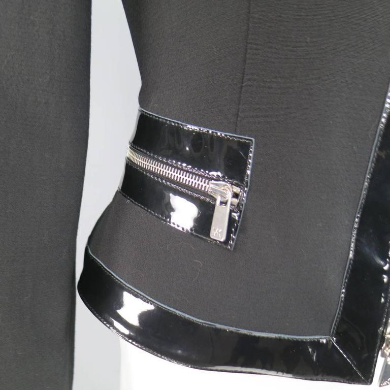 MICHAEL KORS Size 8 Black Virgin Wool & Patent Leather Zip Jacket For Sale 1