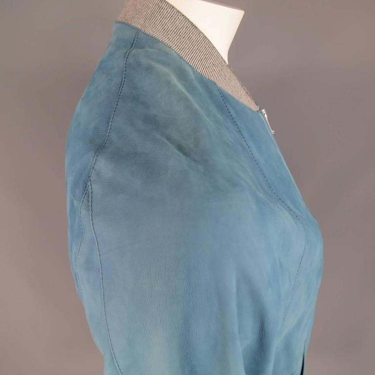 Men's BALENCIAGA 42 Light Teal Blue Leather Gray Cuff Bomber Jacket 4