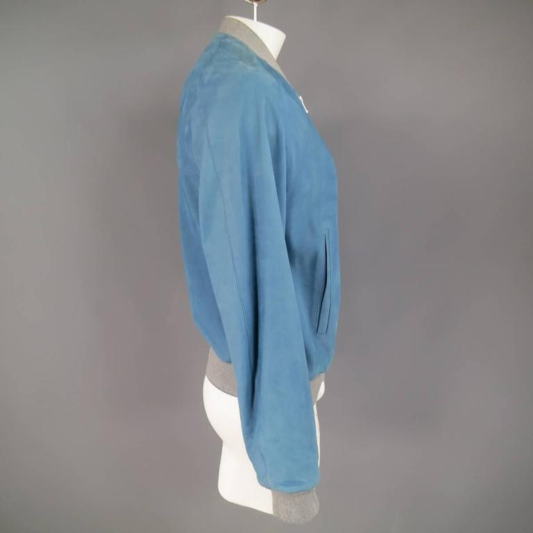 Men's BALENCIAGA 42 Light Teal Blue Leather Gray Cuff Bomber Jacket 5