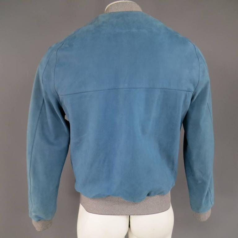 Men's BALENCIAGA 42 Light Teal Blue Leather Gray Cuff Bomber Jacket 8