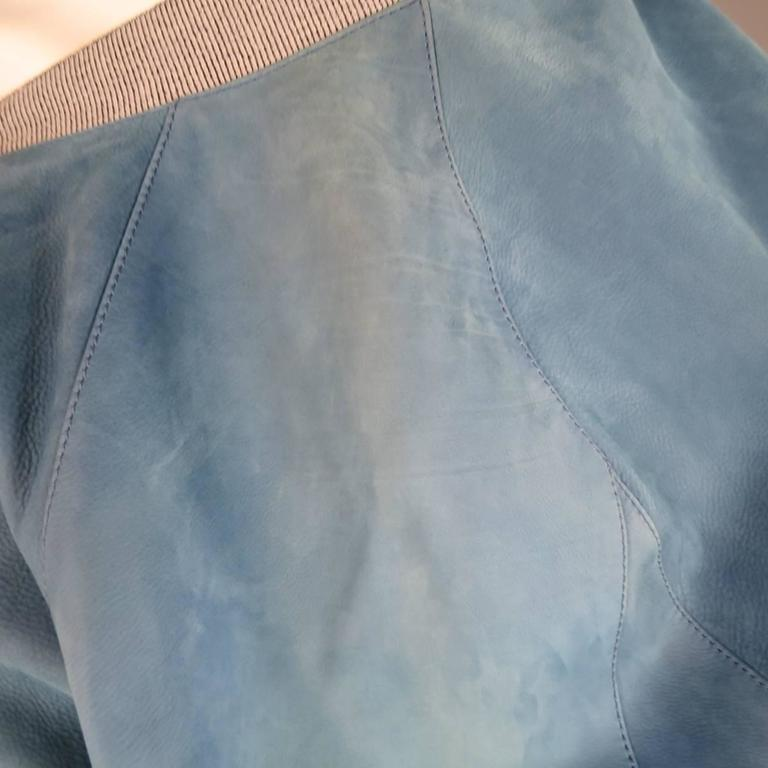 Men's BALENCIAGA 42 Light Teal Blue Leather Gray Cuff Bomber Jacket 6