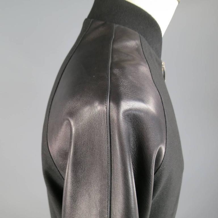 Men S Saint Laurent 40 Black Leather Raglan Sleeve Varsity