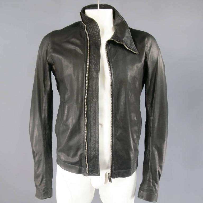 Men's RICK OWENS 38 Black Soft Leather Asymmetrical Zip High Collar Moto Jacket 4