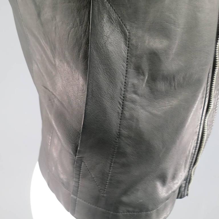 Men's RICK OWENS 38 Black Soft Leather Asymmetrical Zip High Collar Moto Jacket 6