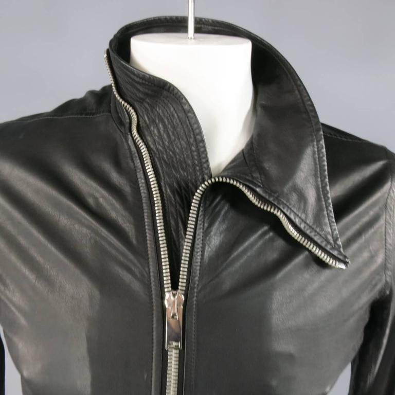 Men's RICK OWENS 38 Black Soft Leather Asymmetrical Zip High Collar Moto Jacket 3