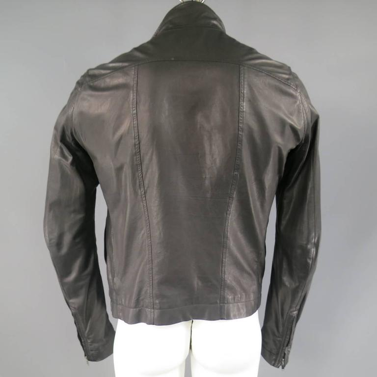 Men's RICK OWENS 38 Black Soft Leather Asymmetrical Zip High Collar Moto Jacket 7