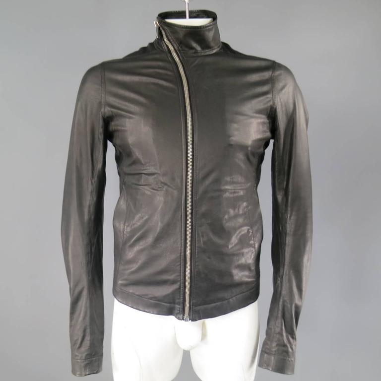 Men's RICK OWENS 38 Black Soft Leather Asymmetrical Zip High Collar Moto Jacket 2