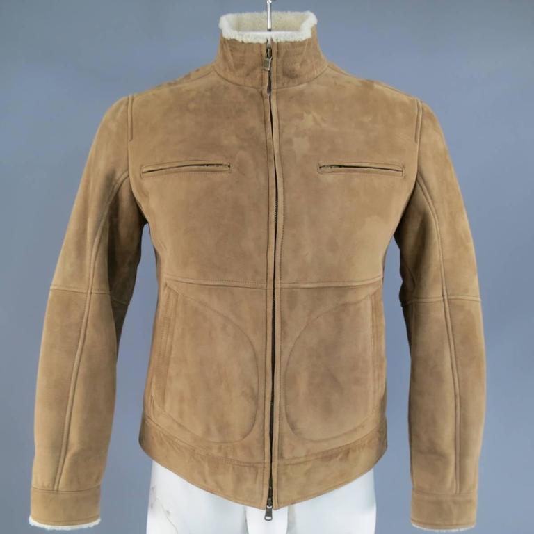 Men S Brunello Cucinelli 38 Tan And Cream Suede Shearling Zip Jacket