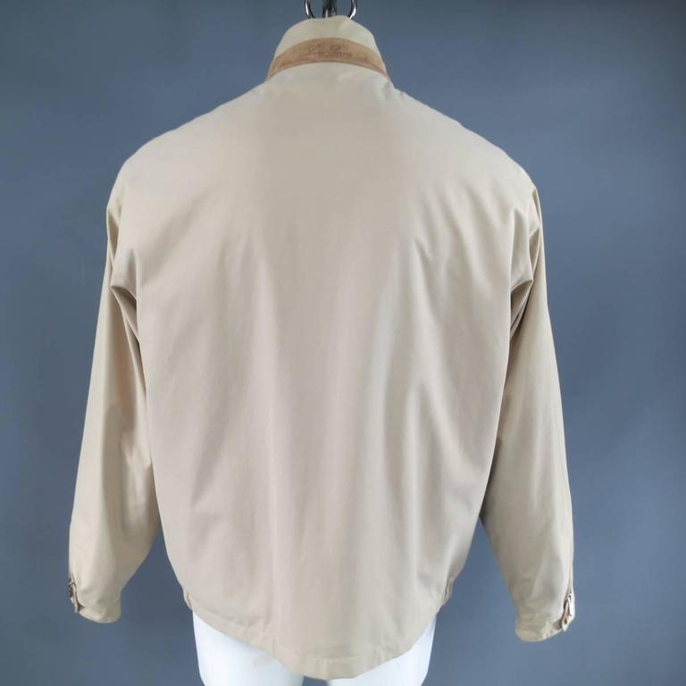 Men's LORO PIANA Jacket 44 Khaki Twill Roadster Pebble Beach Concours D'elegance For Sale 3