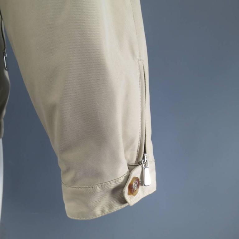 Men's LORO PIANA Jacket 44 Khaki Twill Roadster Pebble Beach Concours D'elegance For Sale 4