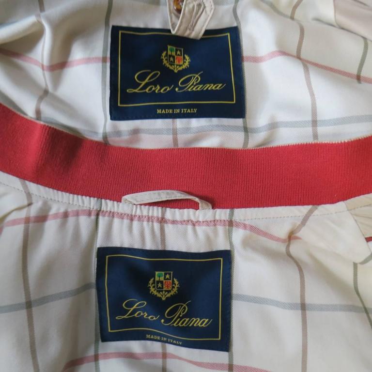Men's LORO PIANA Jacket 44 Khaki Twill Roadster Pebble Beach Concours D'elegance For Sale 5