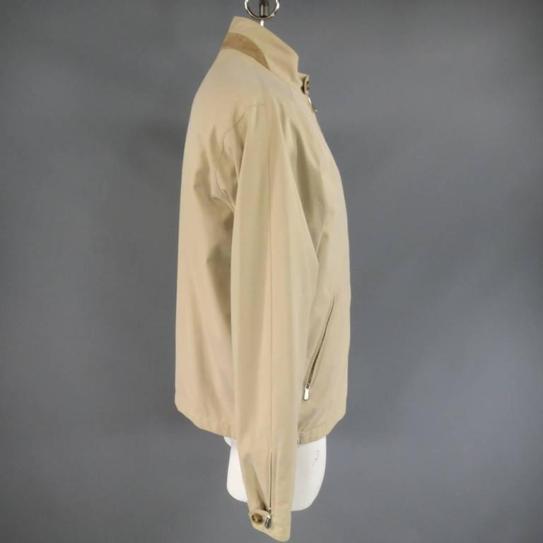 Men's LORO PIANA Jacket 44 Khaki Twill Roadster Pebble Beach Concours D'elegance For Sale 1