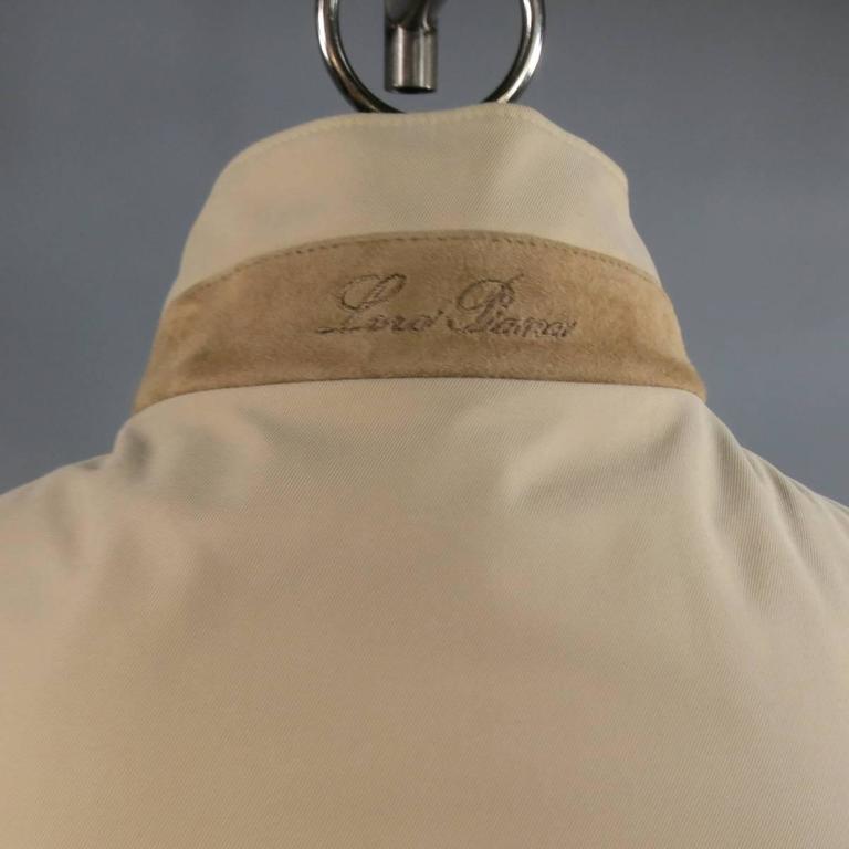 Men's LORO PIANA Jacket 44 Khaki Twill Roadster Pebble Beach Concours D'elegance For Sale 2