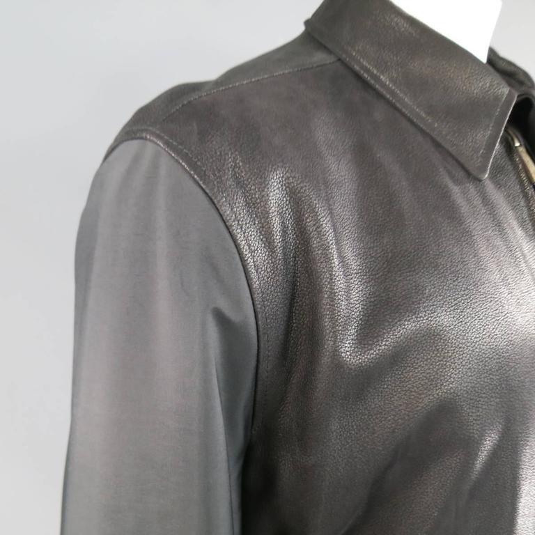 4bf3f85852 Men's ERMENEGILDO ZEGNA 42 Black Pebbled Leather & Nylon Collared Coat