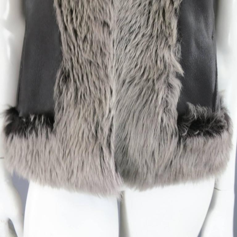 Women's ROSENBERG & LENHART Size 8 Gray & Black Hooded Lamb Fur Shearling Leather Vest For Sale