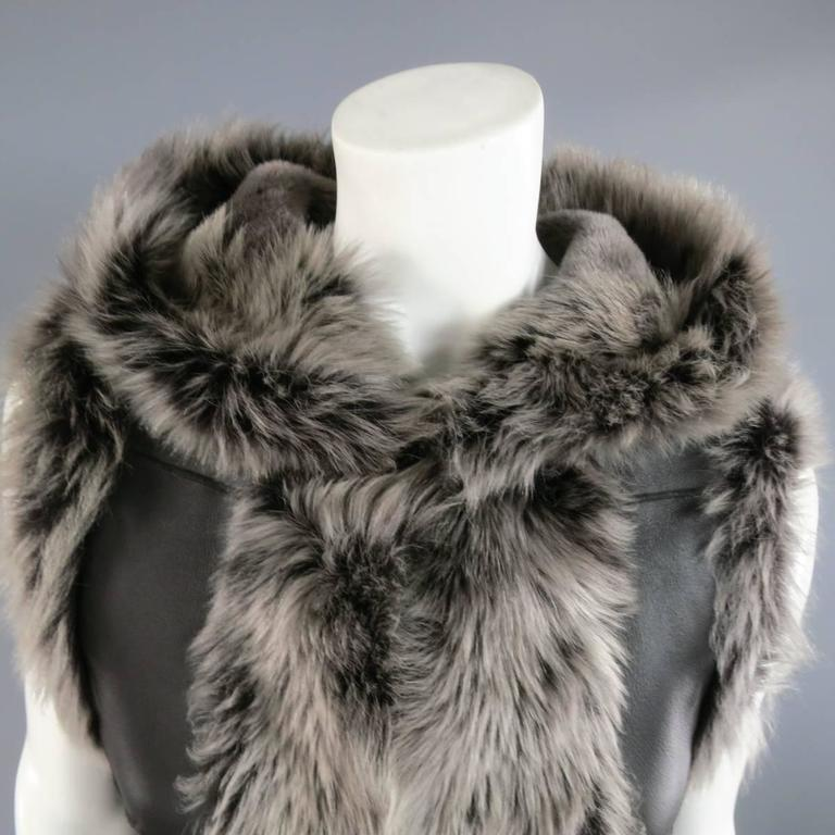 ROSENBERG & LENHART Size 8 Gray & Black Hooded Lamb Fur Shearling Leather Vest In Good Condition For Sale In San Francisco, CA