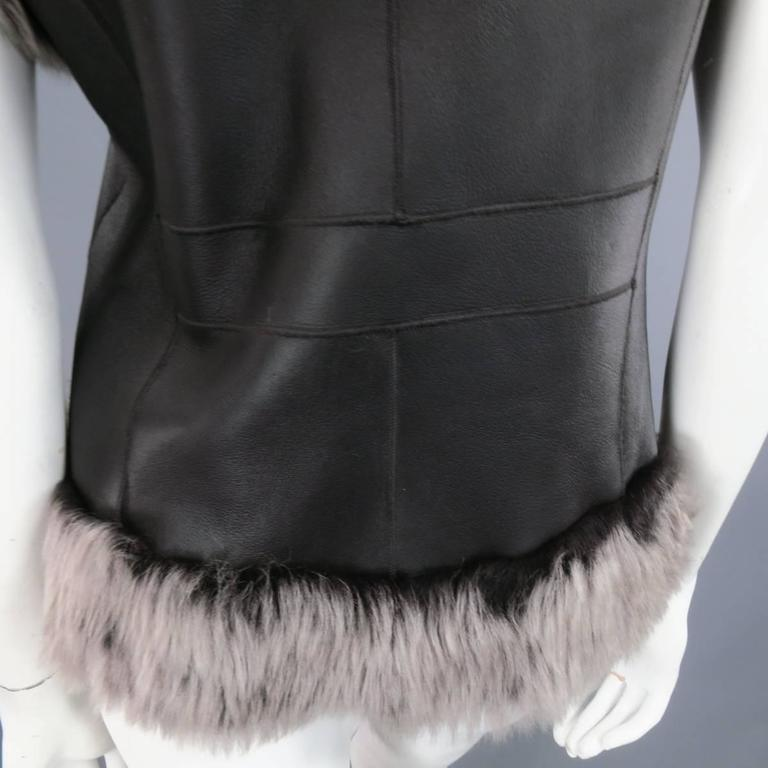 ROSENBERG & LENHART Size 8 Gray & Black Hooded Lamb Fur Shearling Leather Vest For Sale 4
