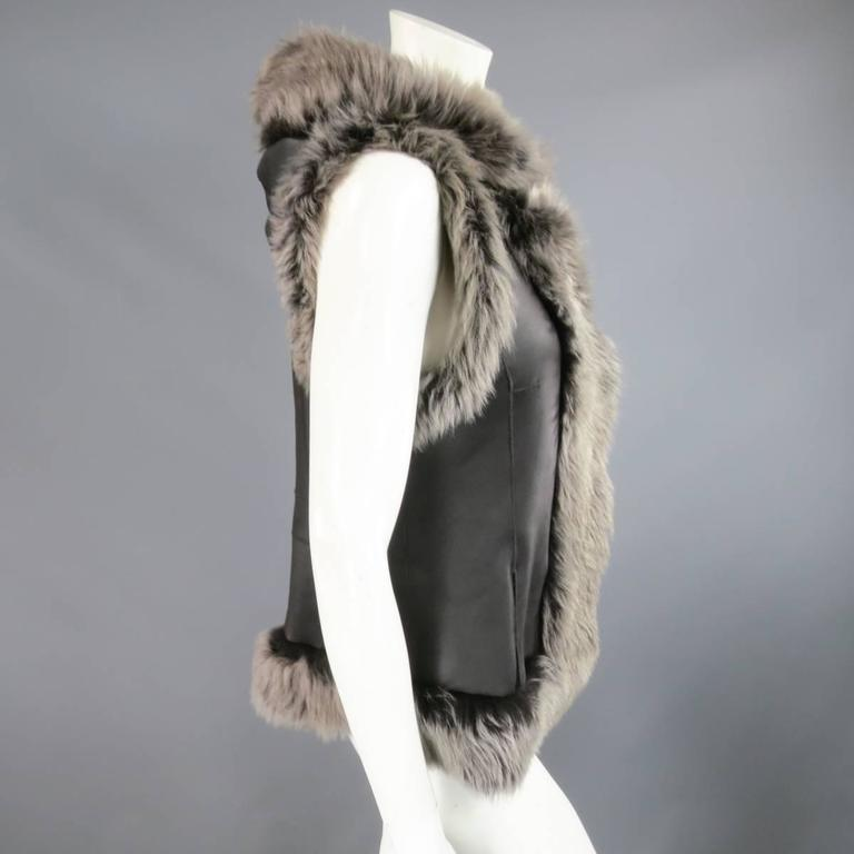 ROSENBERG & LENHART Size 8 Gray & Black Hooded Lamb Fur Shearling Leather Vest For Sale 6