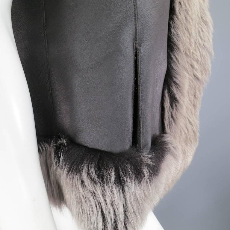 ROSENBERG & LENHART Size 8 Gray & Black Hooded Lamb Fur Shearling Leather Vest For Sale 5