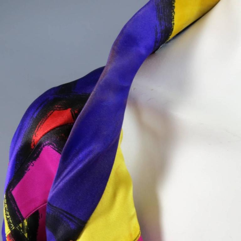 THIERRY MUGLER Size 10 Multi-Color Abstract Brush Stroke Silk 1980's Blouse 3