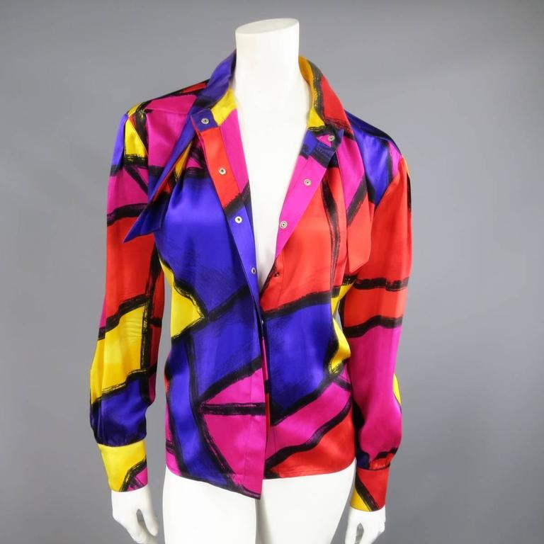 THIERRY MUGLER Size 10 Multi-Color Abstract Brush Stroke Silk 1980's Blouse 9