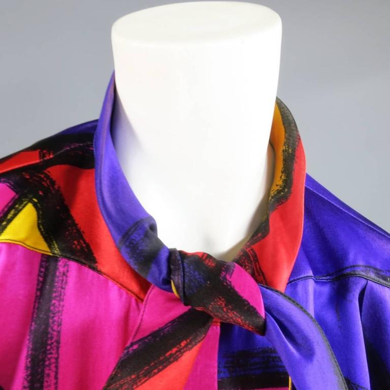 THIERRY MUGLER Size 10 Multi-Color Abstract Brush Stroke Silk 1980's Blouse 4