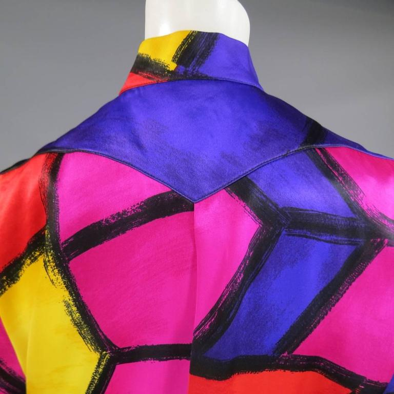 THIERRY MUGLER Size 10 Multi-Color Abstract Brush Stroke Silk 1980's Blouse 8