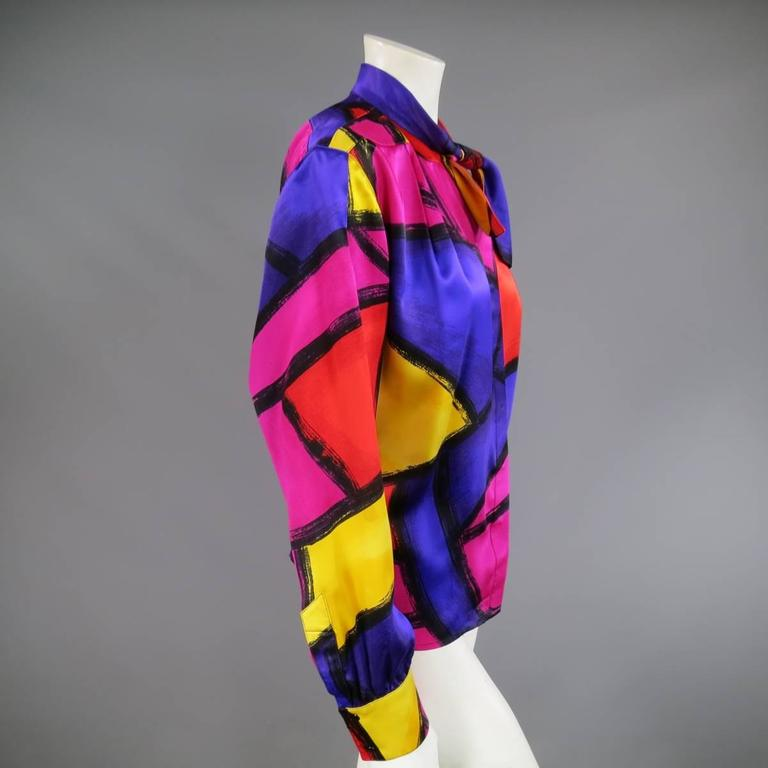 THIERRY MUGLER Size 10 Multi-Color Abstract Brush Stroke Silk 1980's Blouse 6