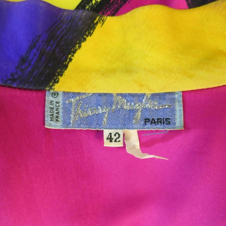 THIERRY MUGLER Size 10 Multi-Color Abstract Brush Stroke Silk 1980's Blouse 10