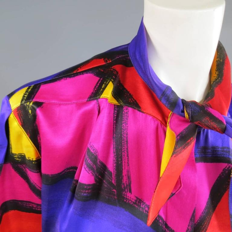 THIERRY MUGLER Size 10 Multi-Color Abstract Brush Stroke Silk 1980's Blouse 2