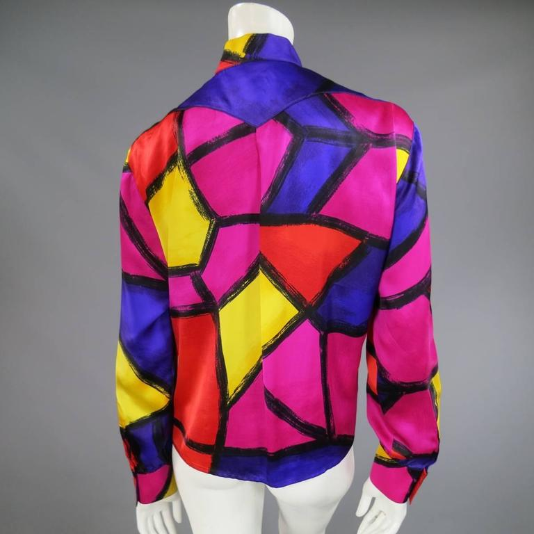 THIERRY MUGLER Size 10 Multi-Color Abstract Brush Stroke Silk 1980's Blouse 7