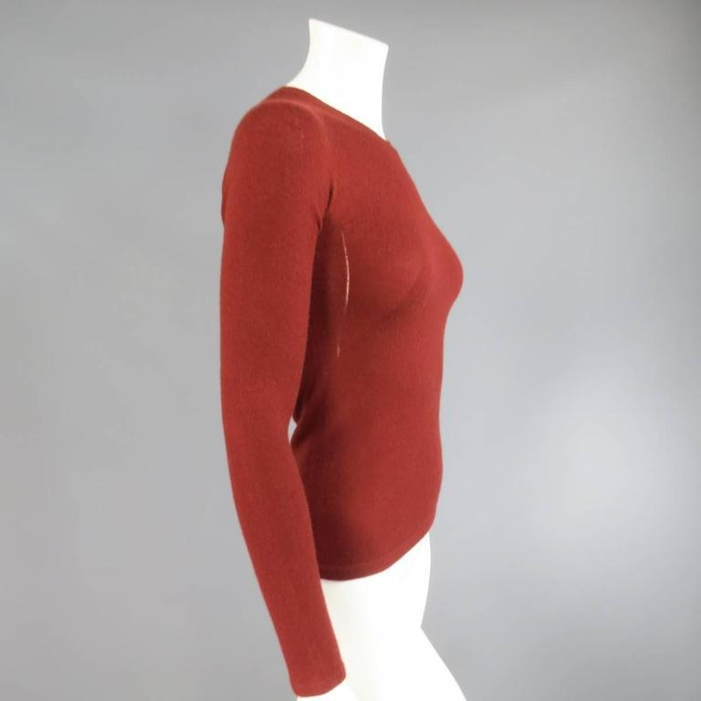 Women's CHANEL Fall 2006 Size 4 Brick Red Cashmere Blend Sheer Panel Logo Pullover For Sale