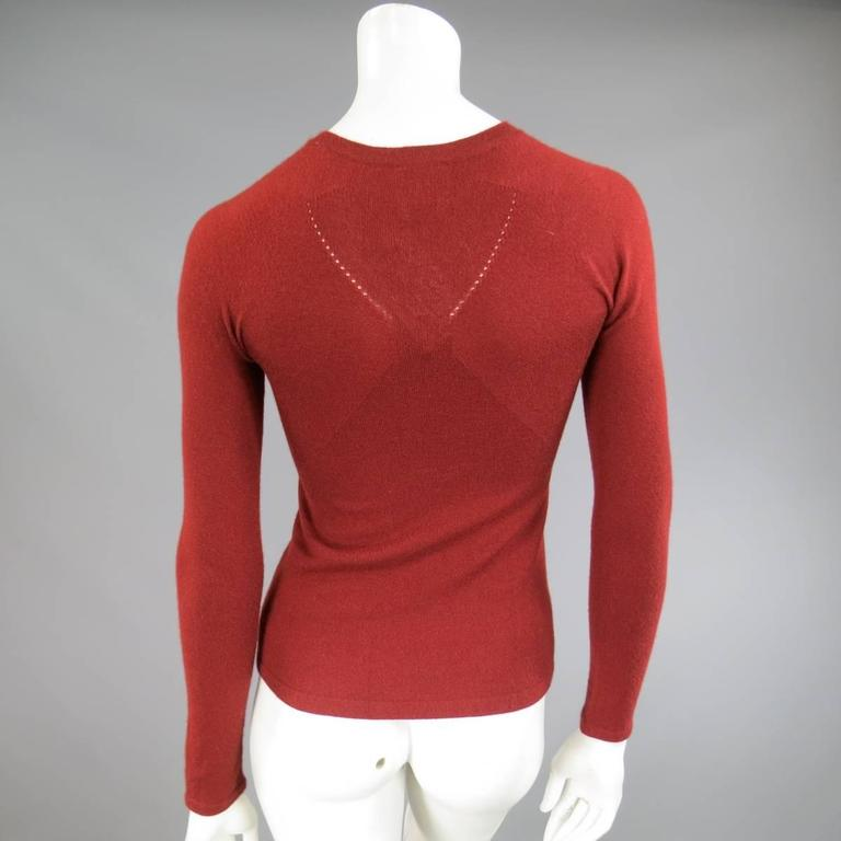 CHANEL Fall 2006 Size 4 Brick Red Cashmere Blend Sheer Panel Logo Pullover For Sale 3