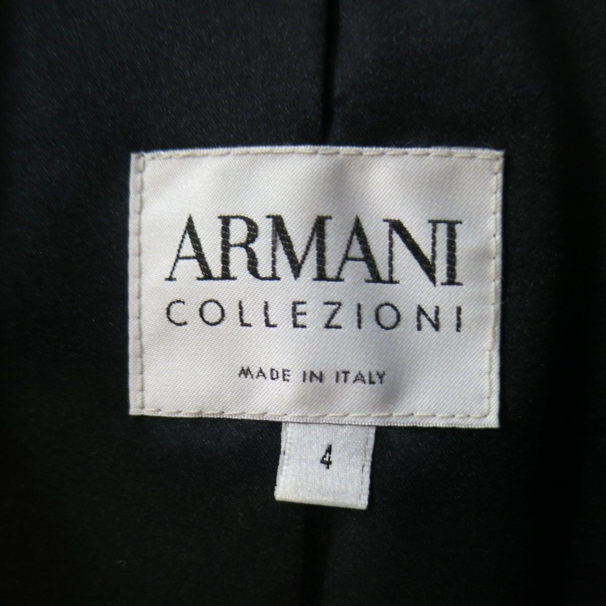 2444a168360 ARMANI COLLEZIONI Jacket Size 4 Black Velvet Under Ruffle Shawl Collar  Tuxedo For Sale at 1stdibs