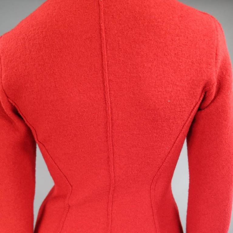 1990's Vintage BALMAIN Size 4 Red Wool Cardigan Jacket 7