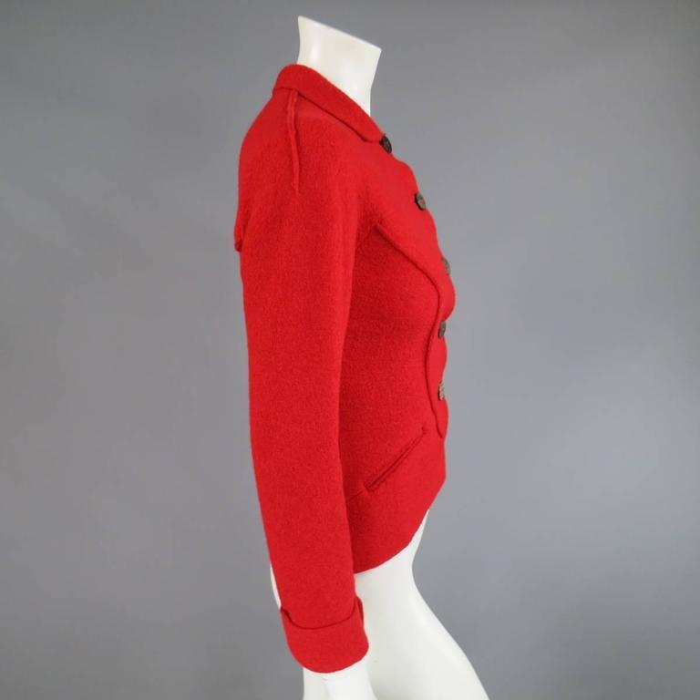1990's Vintage BALMAIN Size 4 Red Wool Cardigan Jacket 4