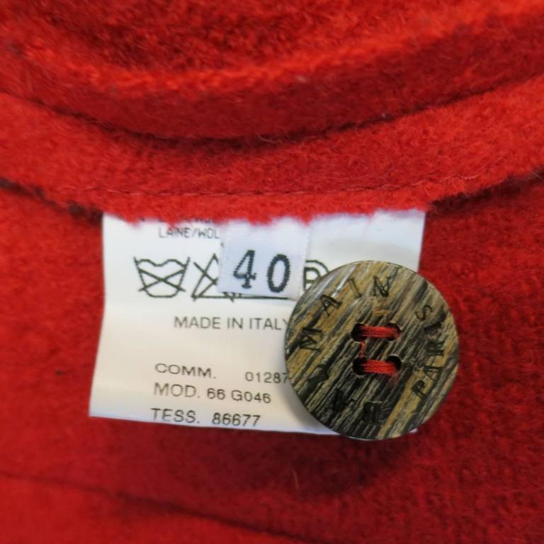 1990's Vintage BALMAIN Size 4 Red Wool Cardigan Jacket 10