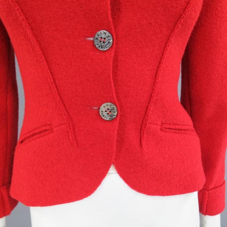 1990's Vintage BALMAIN Size 4 Red Wool Cardigan Jacket 3