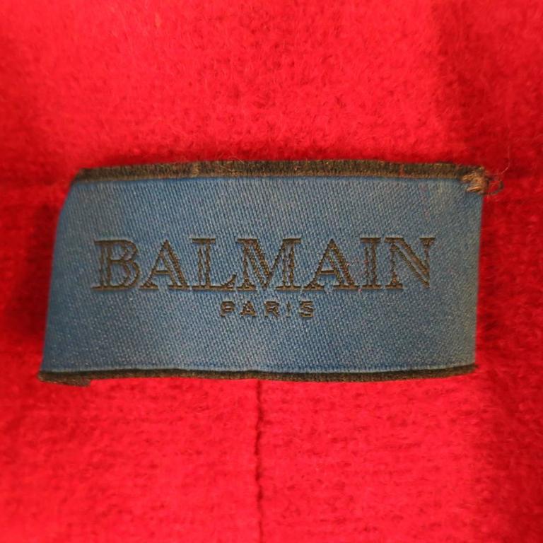 1990's Vintage BALMAIN Size 4 Red Wool Cardigan Jacket 9