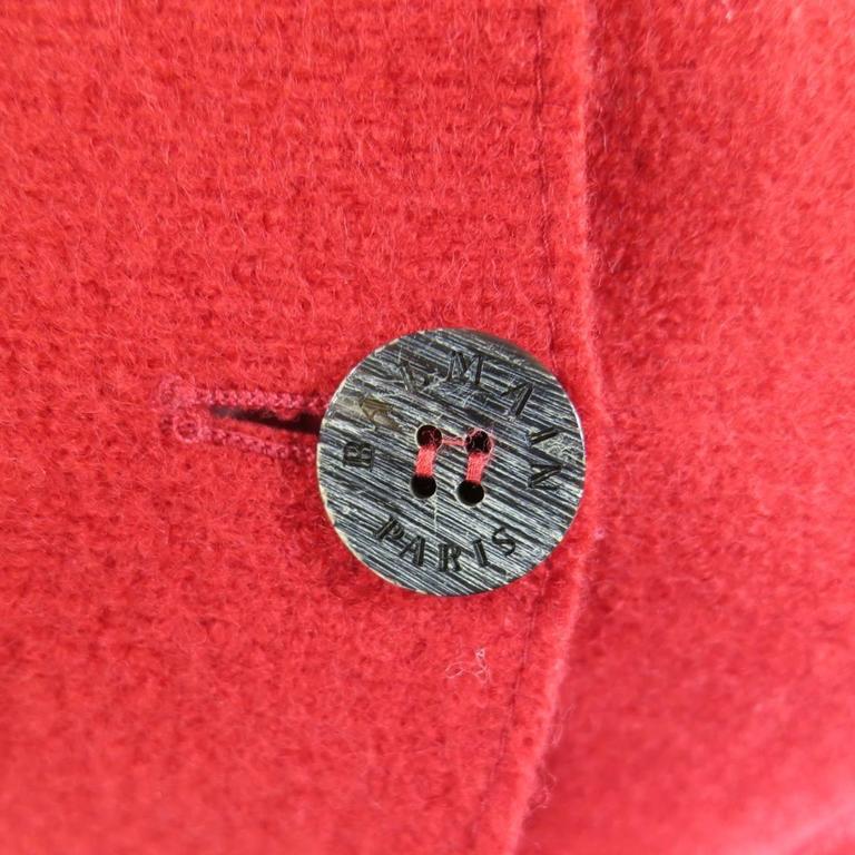 1990's Vintage BALMAIN Size 4 Red Wool Cardigan Jacket 6