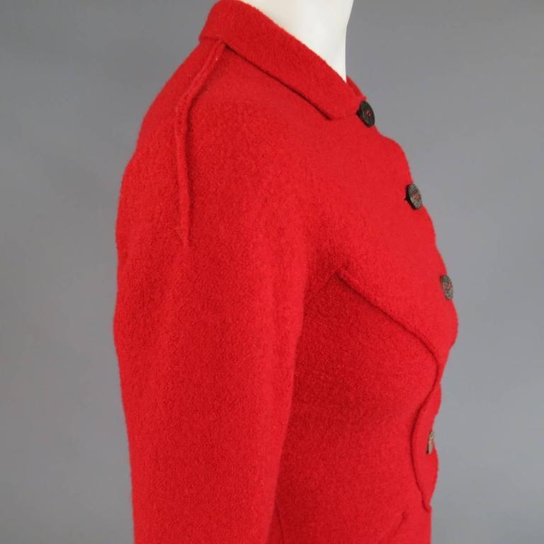 1990's Vintage BALMAIN Size 4 Red Wool Cardigan Jacket 5