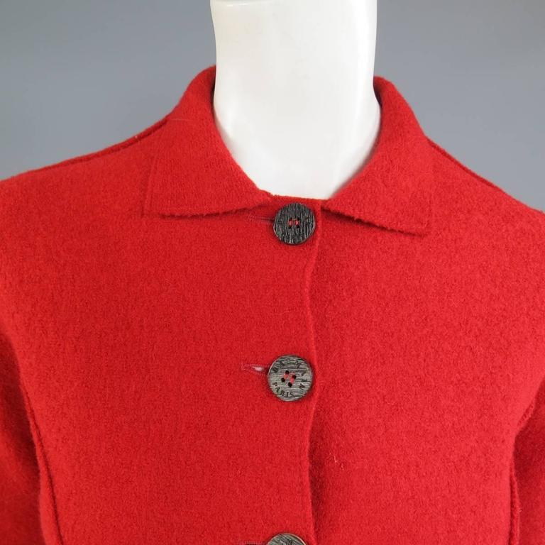 1990's Vintage BALMAIN Size 4 Red Wool Cardigan Jacket 2