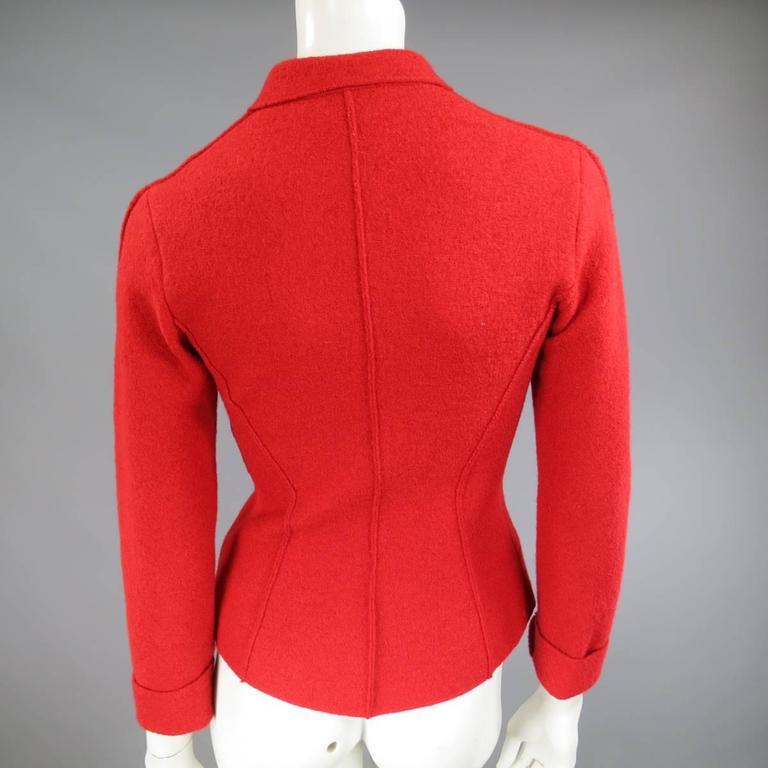 1990's Vintage BALMAIN Size 4 Red Wool Cardigan Jacket 8
