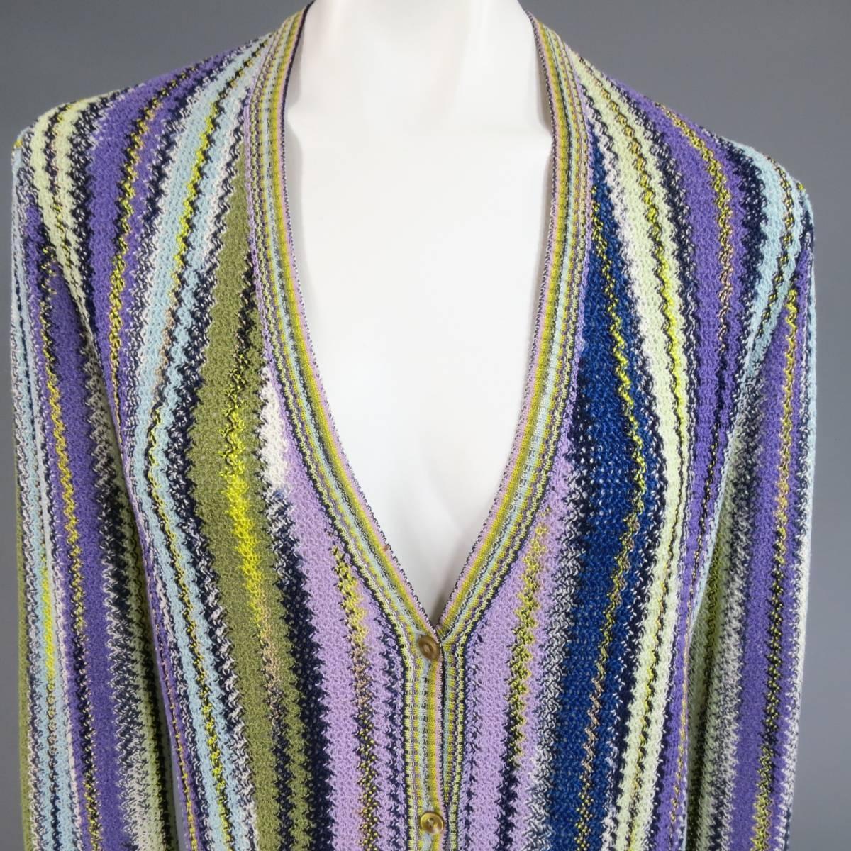 Missoni Size 12 Purple Green Yellow And Blue Striped Knit