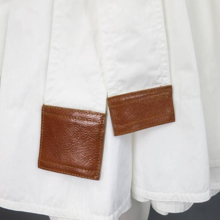 KAUFMAN FRANCO 8 Off White Textured Tan Leather End Belt A Line Wrap Trenchcoat 4