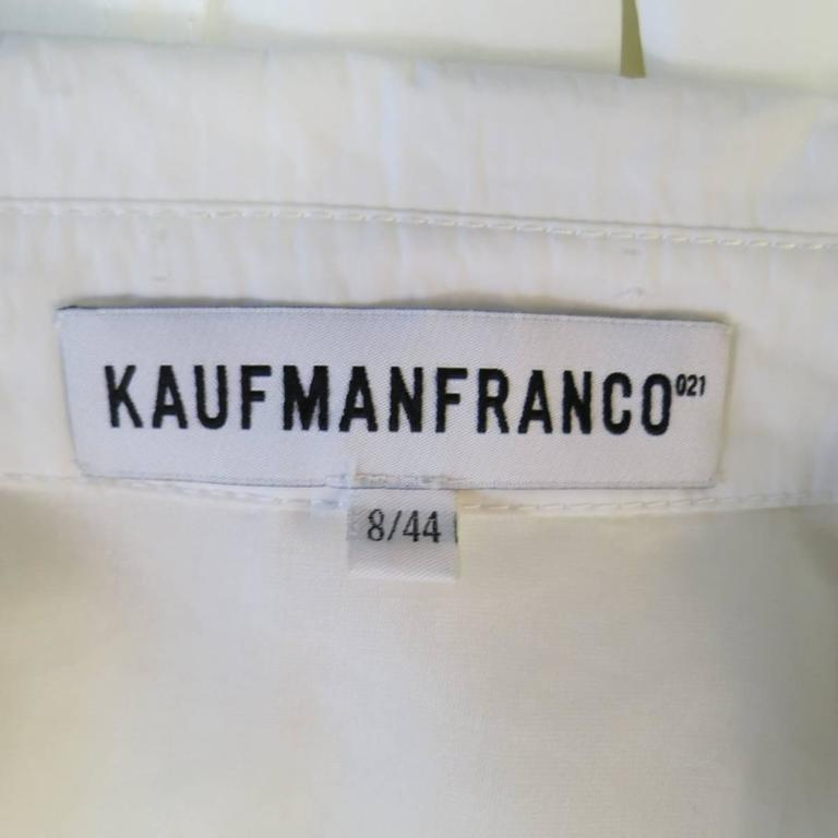 KAUFMAN FRANCO 8 Off White Textured Tan Leather End Belt A Line Wrap Trenchcoat 10