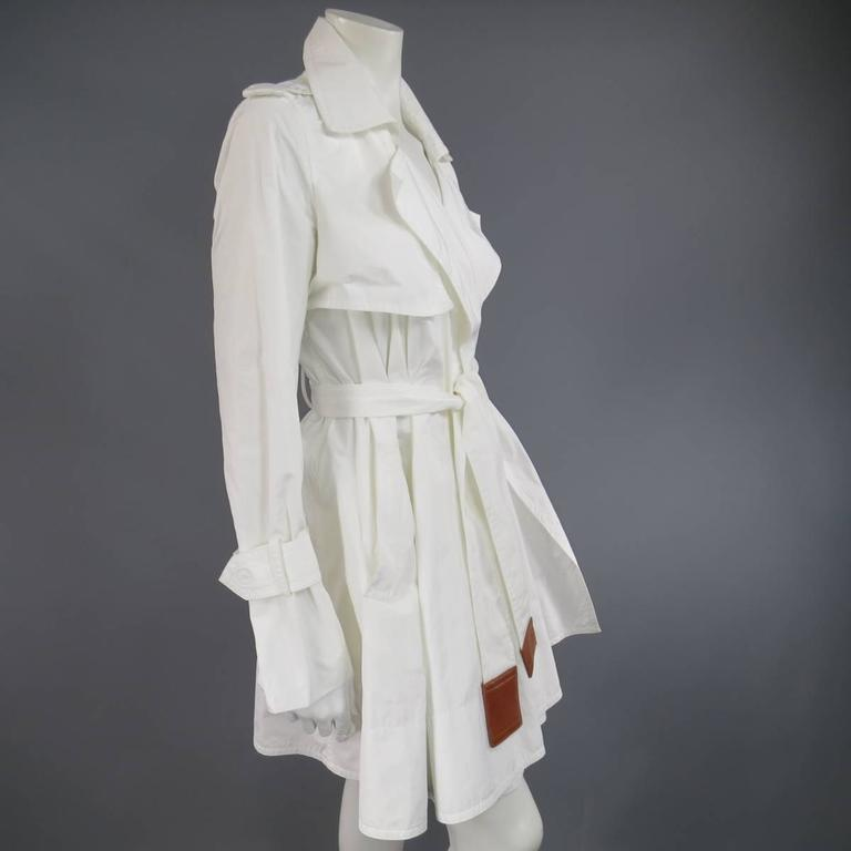 KAUFMAN FRANCO 8 Off White Textured Tan Leather End Belt A Line Wrap Trenchcoat 7