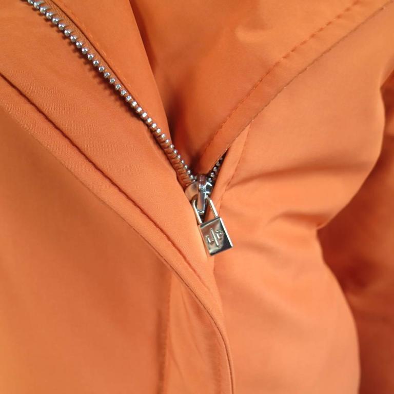 LORO PIANA Jacket - Size 12 Orange Nylon Padded Storm System Hood Ski Coat In New Condition For Sale In San Francisco, CA