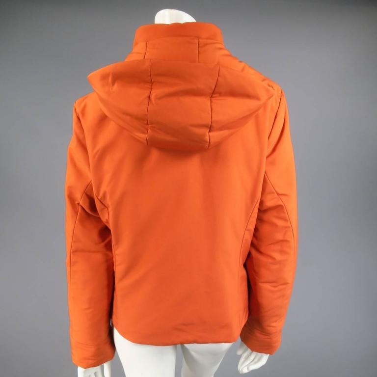 LORO PIANA Jacket - Size 12 Orange Nylon Padded Storm System Hood Ski Coat For Sale 1