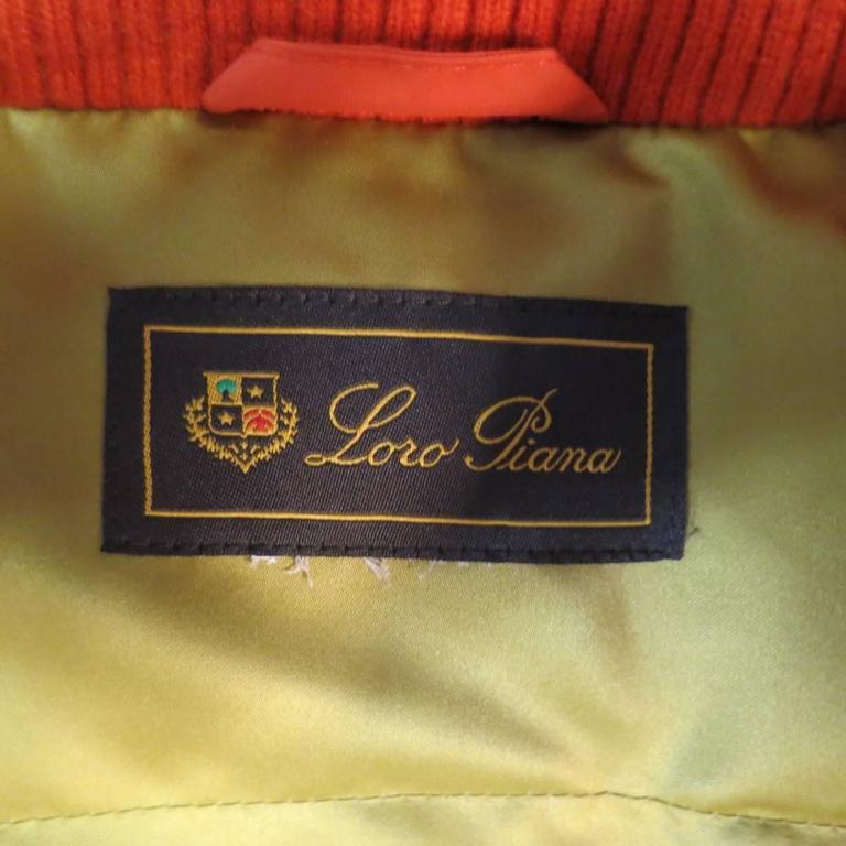 LORO PIANA Jacket - Size 12 Orange Nylon Padded Storm System Hood Ski Coat For Sale 2